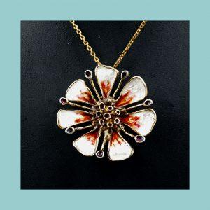 David Andersen Enamel Flower Necklace Broach Fr