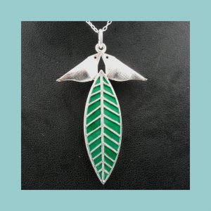 David Andersen Birds and Leaf Necklace Front CUp