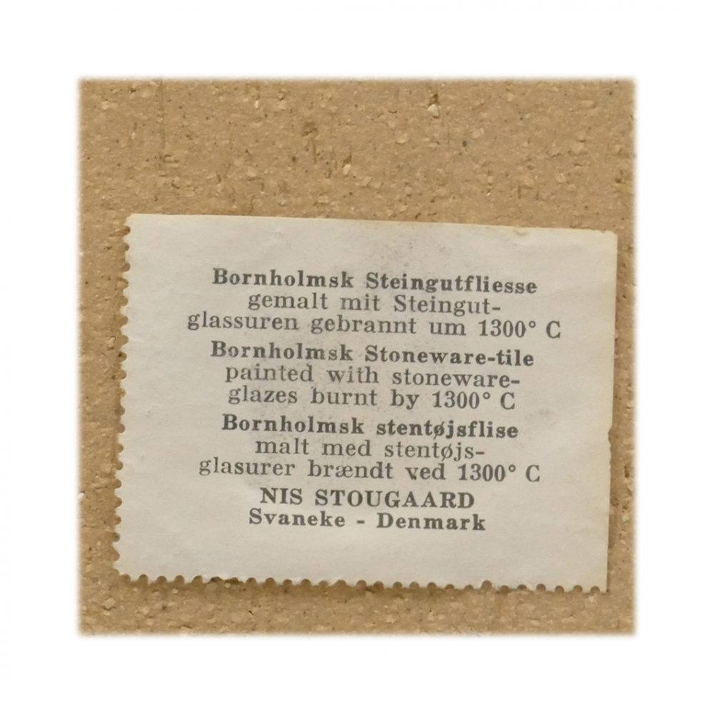 Vintage Stougaard Wall Plaque 5412 Label