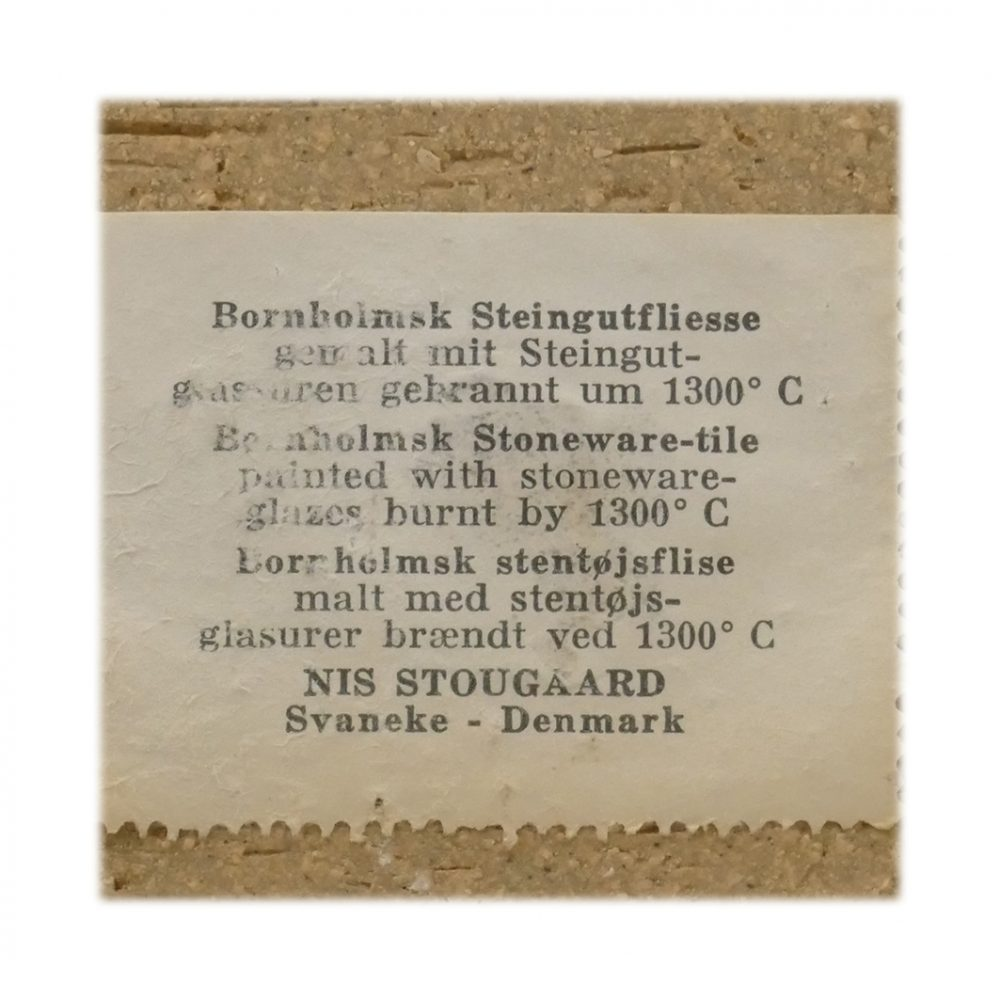Vintage Stougaard Wall Plaque 5414 Label